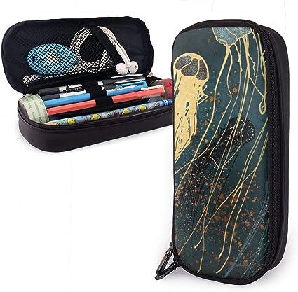Estuche metálico para lápices de papelería multifuncional de piel sintética con cremallera, gran capacidad, bolsa de almacenamiento, bolsa de maquillaje de viaje para estudiantes adultos y suministros de oficina: Amazon.es: Oficina y