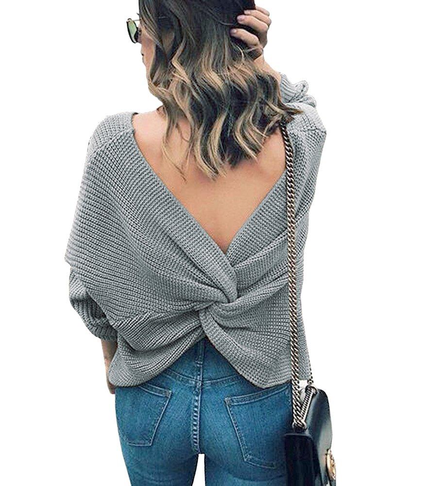 Maglione Donna Manica Lunga Scollato V Croce Pullover Maniche Lunghe, Backless Reversible Cross Wrap Sweater Jumper Grigio)