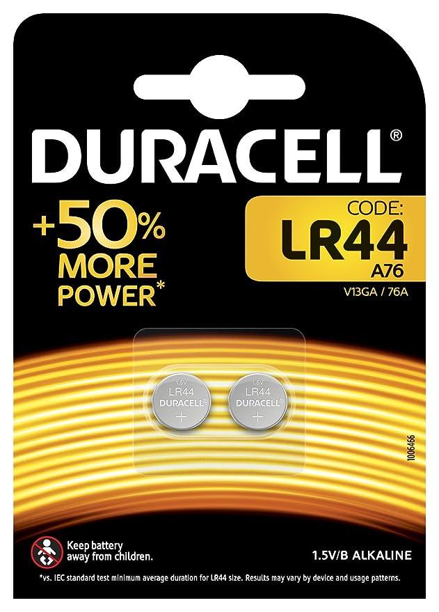 Duracell - Pilas especiales alcalinas de botón LR44 de 1.5 V, paquete de 2 unidades (76A/A76/V13GA) diseñadas para su uso en juguetes, calculadoras y ...