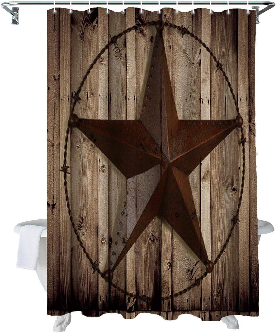 Z&L Home Western Texas Star Shower Curtains for Bathroom Decor Vintage Farmhouse Brown Wood Barn Polyester Fabric Waterproof Bath Curtain Set with Hooks