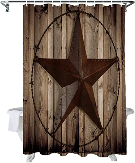 Western Texas Star Shower Curtain Set /& Hooks Rustic Wood Barn Bathroom Decor