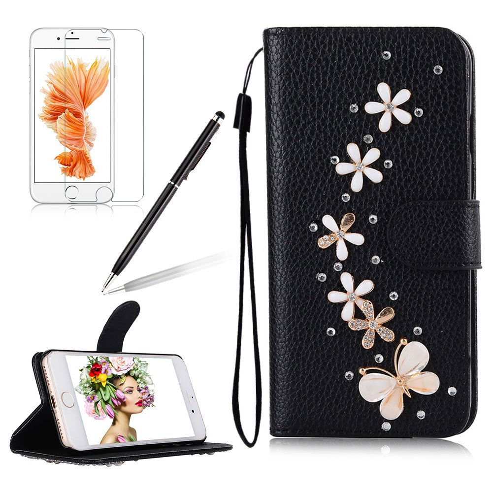 Girlyard For iPhone 7 PLUS Luxury Crystal Rhinestone Black PU Leather Flip Stand Wallet Case Cover Glitter Sparkle Protective Back Cover with Wrist Strap and Magnetic Closure Pink Dragonfly Butterfly