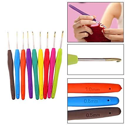 Amazoncom 9pcs Plastic Handle Aluminum Crochet Hooks Needles