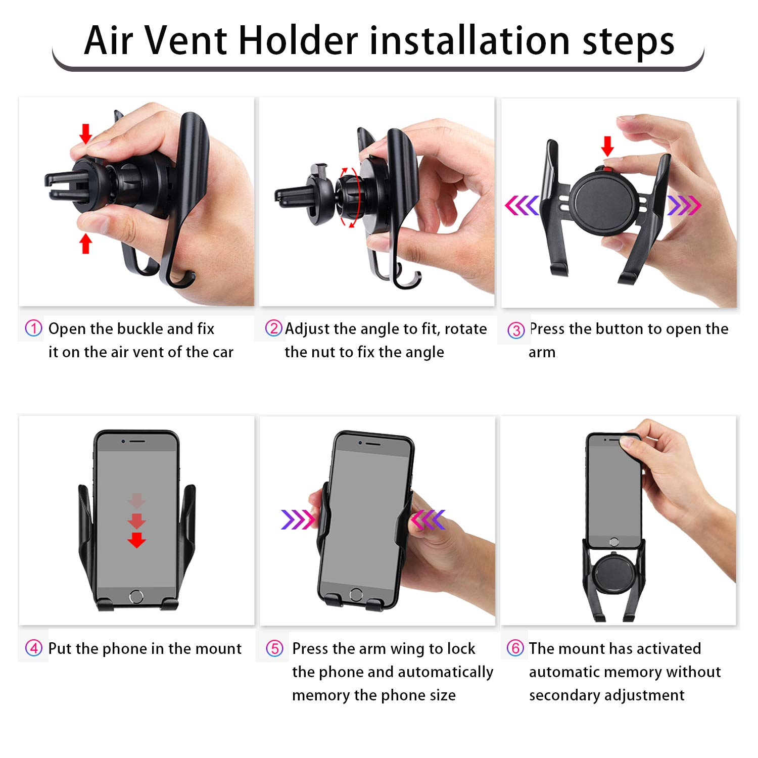 Cell Phone Car Mount Compatible iPhone XR Xs Max Xs X 8 7 6 Plus Fit for Galaxy S9 8 7 LG Google 4351496738 Car Phone Mount,Leepiya 2-in-1 Universal Car Air Vent Holder Dashboard Mount Windshield Mount for Car