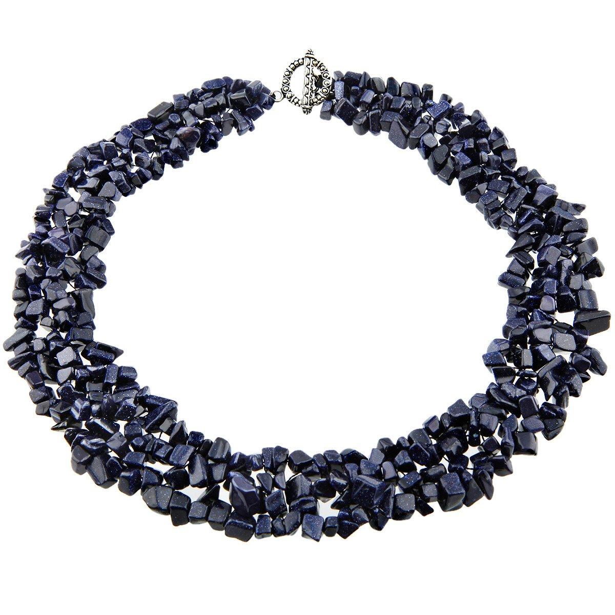 SUNYIK Blue Sand Tumbled Stone Bib Necklace Collar