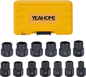 Bolt Extractor Nut Removal Tool - YEAHOME Impact Bolt & Lug Nut Remover Set 13 Pieces Extractor Socket Set Automotive Tools