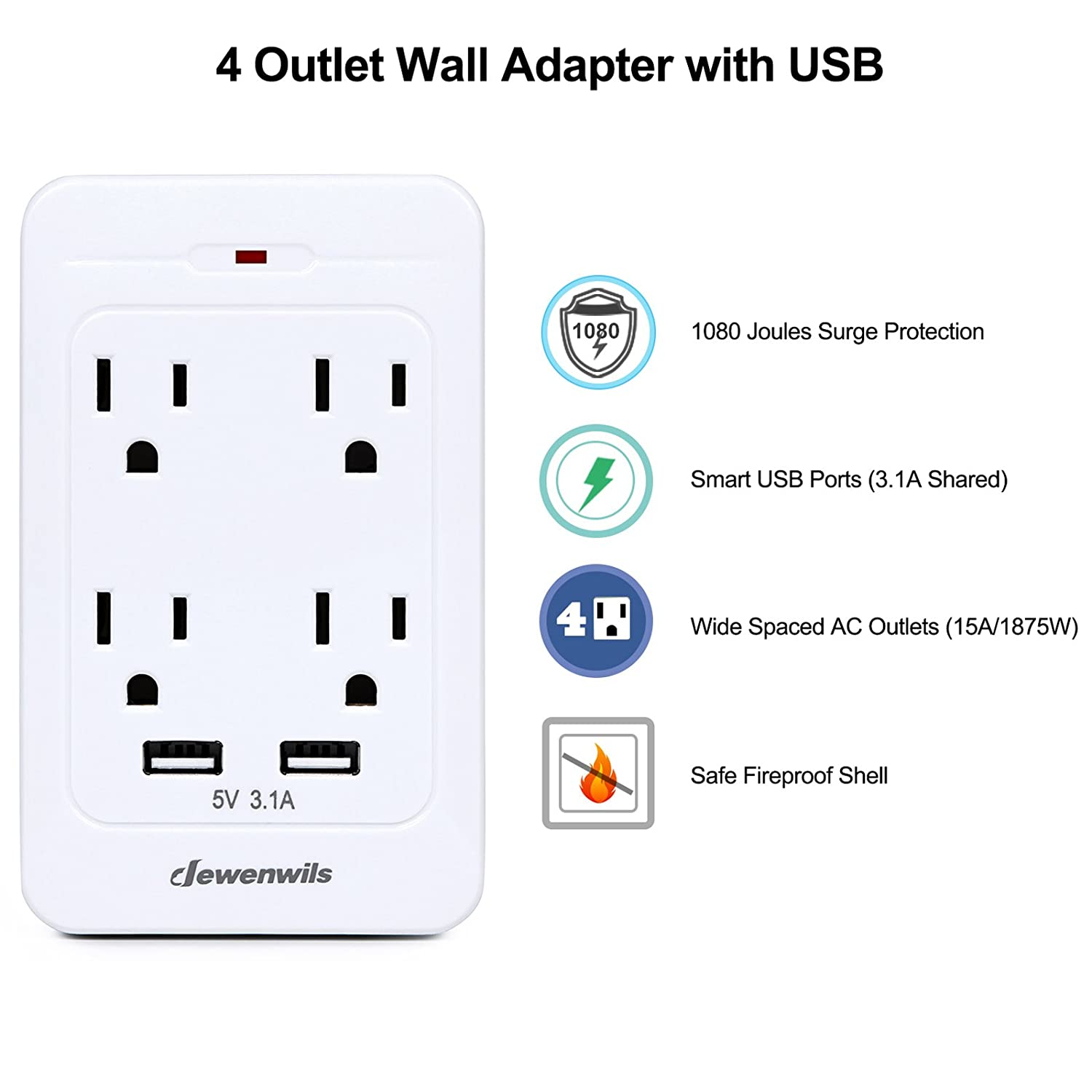 Dewenwils 4 Outlet Wall Mount Adapter Surge Protector With Dual Usb How To Wire An Electrical Wiring Besides Duplex Ports 24a Port 31a Total Multi Plug Extender Charger 1080 Joules