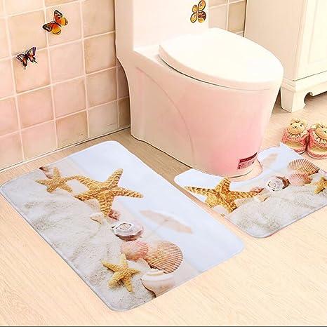 Alfombra de baño Set, tezoo 2pcs Estrella de mar Conchas Beach antideslizante baño alfombra alfombras