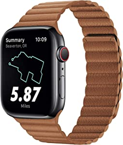 Compatible for Apple Watch Leather Link Band 44mm 42mm Series 6, Strong Magnetic Adjustable Leather Strap with Flexible Molded Magnets for iWatch Series 5/4/3/2/1(Color Brown)