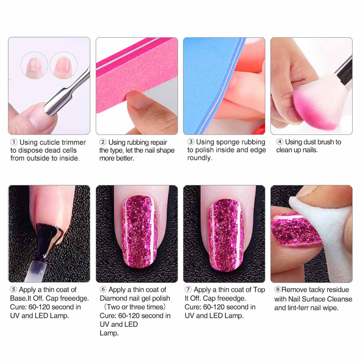 Amazon.com : 6 Color Glitter Nail Polish+ Painting Pen, Saviland ...
