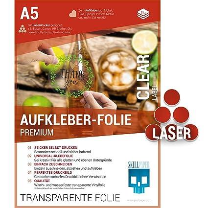 Skullpaper Klebefolie Transparent Zum Aufkleben Und Selbst Gestalten Für Laserdrucker A5 20 Blatt