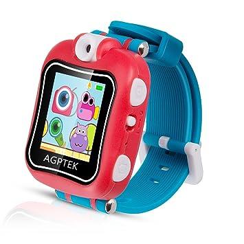 Smartwatch para Niños 4-9 Años, Reloj Táctil Multifunción con Rotación Cámara, Juegos, Temporizador, Despertador de AGPTEK, Color Rojo