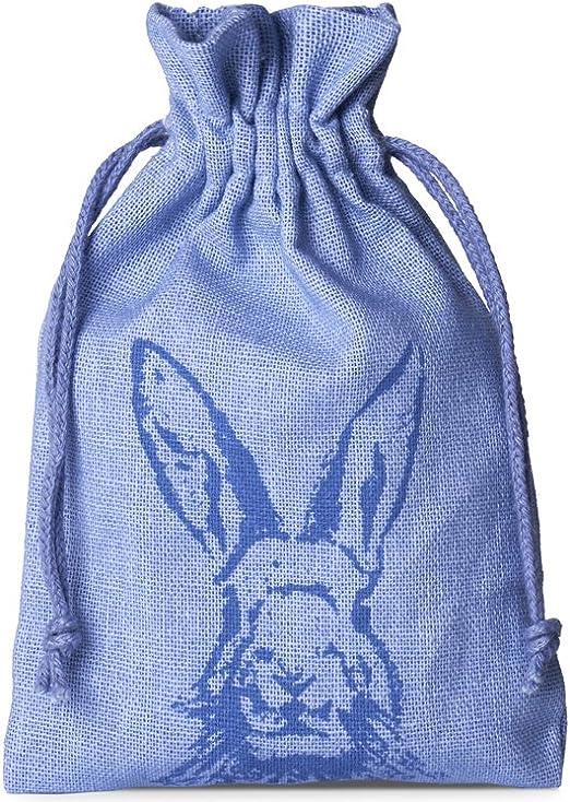 10 bolsitas de algodón con motivo de conejo y cordón, tamaño 23x15, bolsa de algodón, bolsa de regalo para pascua (azul): Amazon.es: Juguetes y juegos