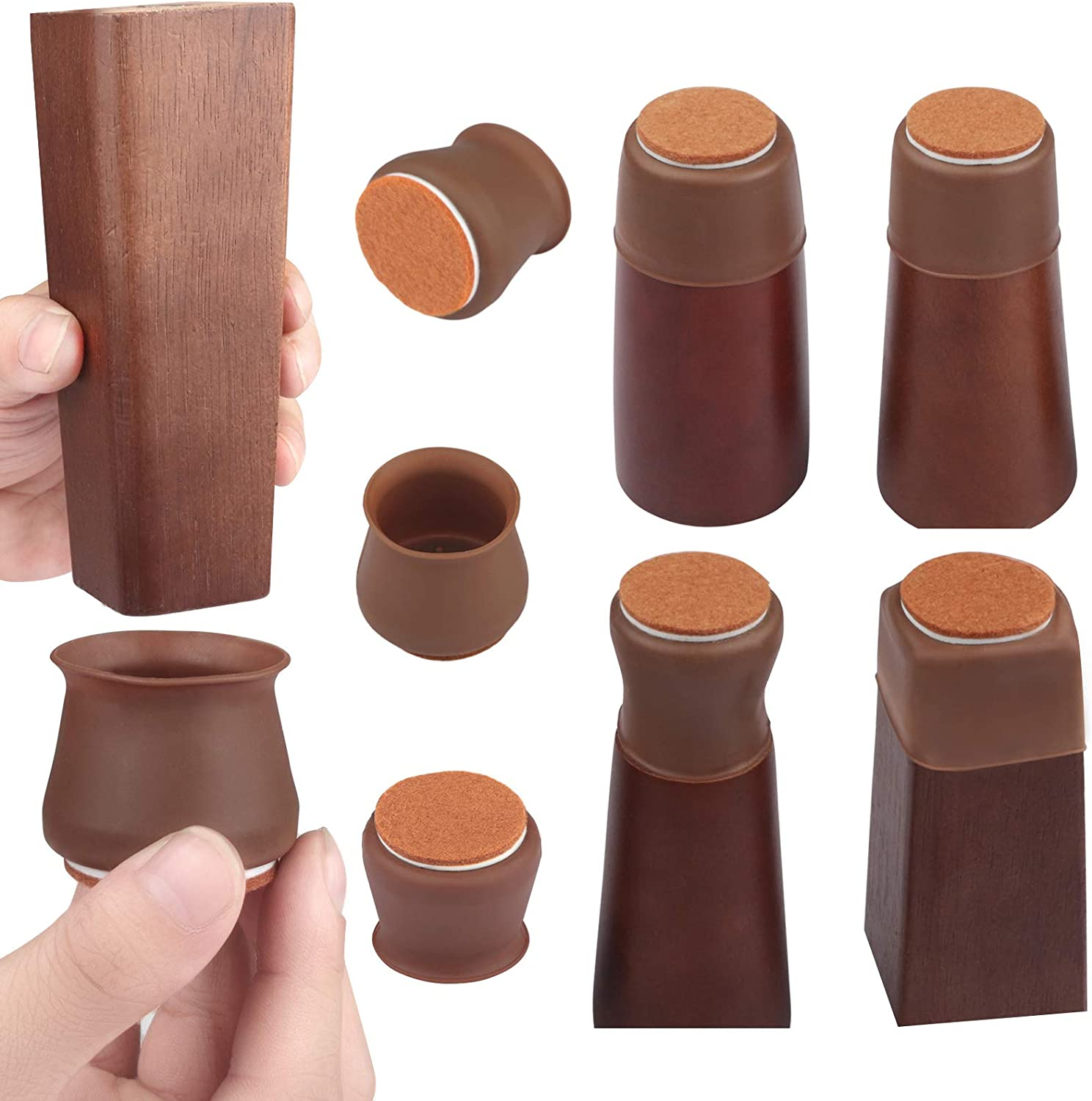 Silicone Chair Leg Caps,32 Pcs Chair Leg Protectors for Hardwood Floors, Chair Leg Floor ProtectorsWith Felt Furniture Pads/Suitable for Round and Square/Non-Slip,Fits 1.18inch to1.57inch (Brown)