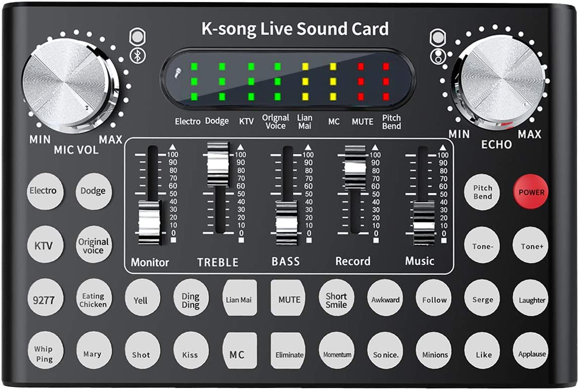 Rehomy Live Sound Card, F9 Universal Voice Change Audio Mixer Adapter Card with 18 Funny Sound Effect for Singing Recording Live Broadcast YouTube