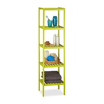 Relaxdays Estantería de baño con 5 estantes, 139,5 x 34,5 x 33 cm, estantería Colorida Cuarto de niños, Verde Claro: Amazon.es: Hogar
