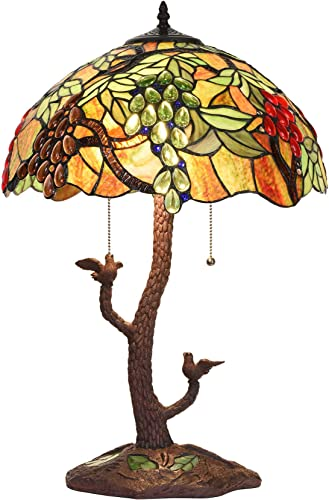 Bieye L10765 Grape Tiffany Style Stained Glass Table Lamp