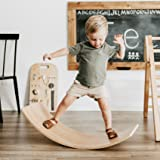 FUNNY SUPPLY Wooden Balance Board Wobble Board Preschool Learning Kid Yoga Board Curvy Board Rocker Board Montessori Toy 35 I
