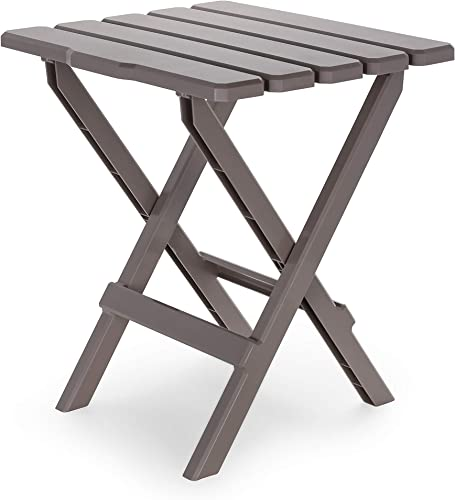Camco 51887 Taupe Large Adirondack Portable Outdoor Folding Side Table, Perfect for The Beach, Camping, Picnics, Cookouts More, Weatherproof Rust Resistant