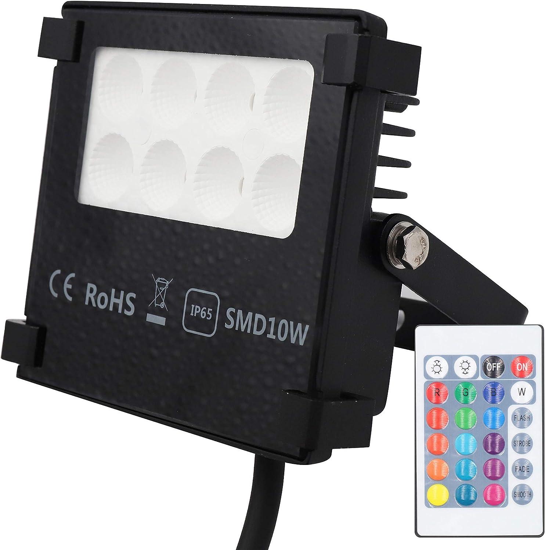 POPP Foco LED RGB 10W Exteriores IP65 lumen 1050, Proyector LED ...