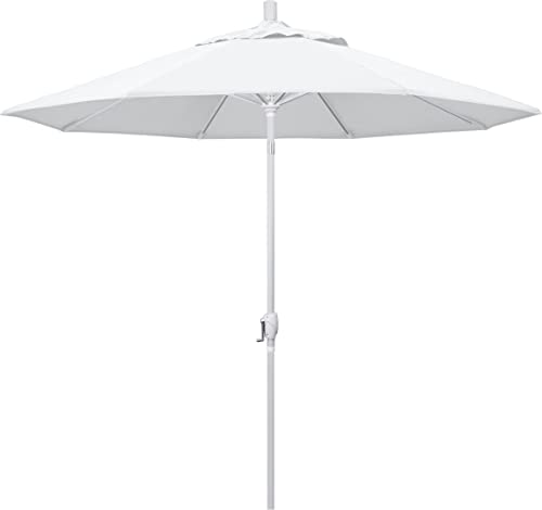 California Umbrella GSPT908170-F04 9 Round Aluminum Market, Crank Lift, Push Button Tilt, White Pole, Olefin Patio Umbrella