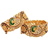 Zeneme Dancing Peacock Antique Gold Plated Bangle/Kada Set Jewellery For Women / Girls