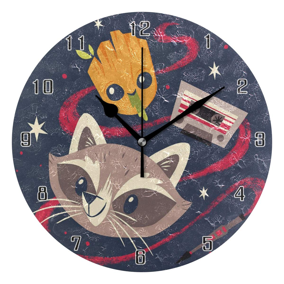 Lie fairy tale Rocket Raccoon and Groot World Round Wall Clock Home Decor Clock Battery Operated Silent Non -Ticking Desk Clock for Home,Office,School (10 Inch)