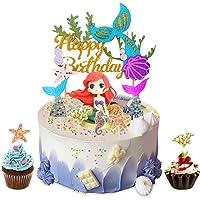 YISKY Sirena Cupcakes Decoración, 32 Piezas Sirena Decoracion Tarta, Sirena Cupcake Toppers, Topper de Pastel de…