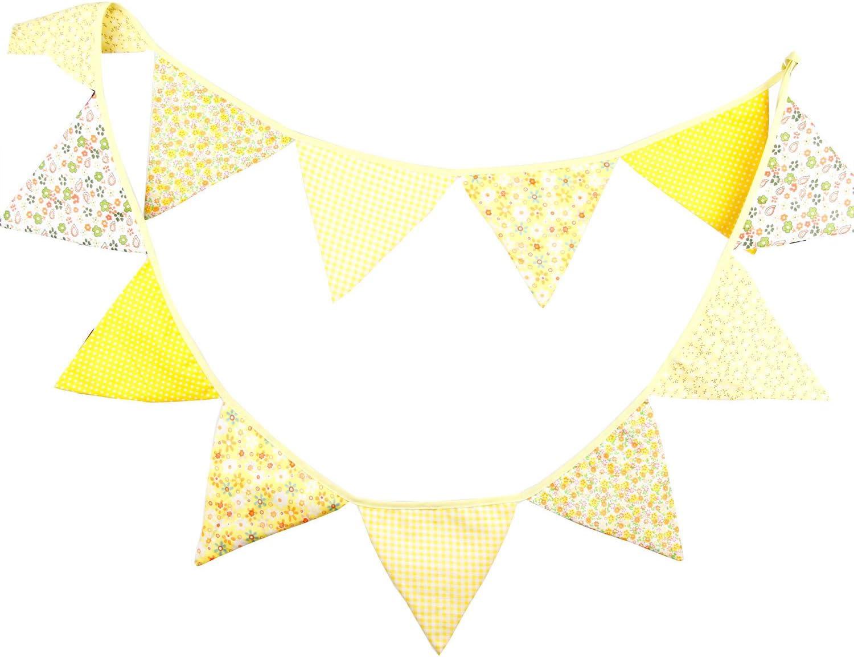 Annie Fabric Bunting Grey Orange Floral Wedding Party Celebration Decor 3m