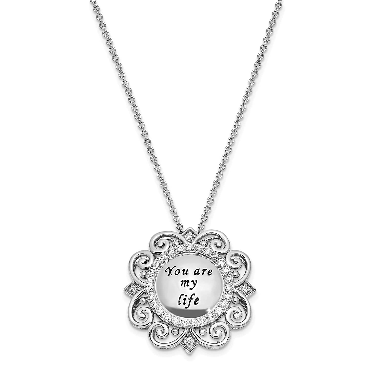 Sterling Silver Polished /& Antiqued CZ You Are My Life Pendant Necklace 18 by Sentimental Expressions