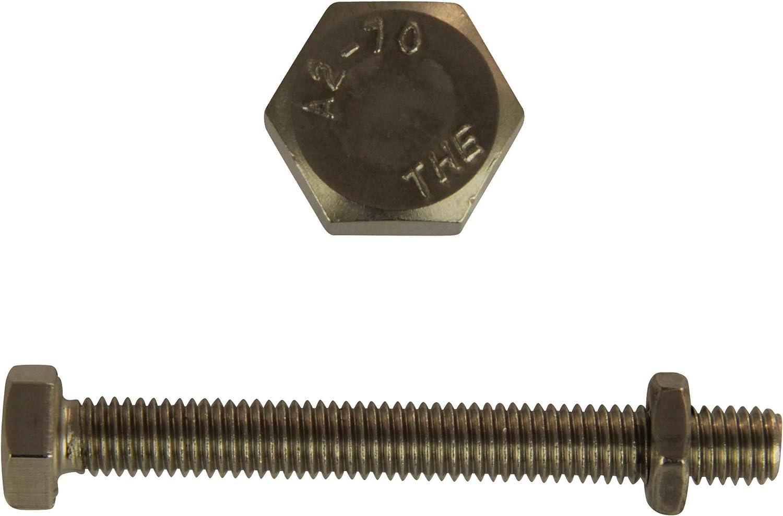 D/´s Items/® DIN 933 // DIN 439 V2A Gewindeschrauben mit Halbmuttern Edelstahl A2 - Sechskantschrauben mit Vollgewinde /& niedrigen Sechskantmuttern Maschinenschrauben 50 St/ück - M5x20
