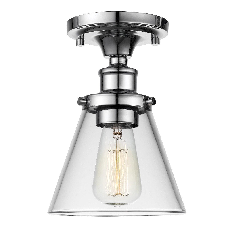 Globe Electric 65726 Mercer 1 Flush Mount Ceiling Light, Clear Glass Shade, Chrome Finish