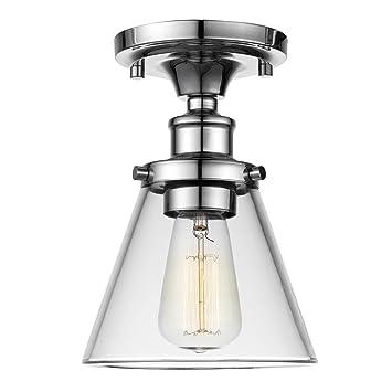 Globe Electric 65726 Mercer 1 Flush Mount Ceiling Light Clear Glass