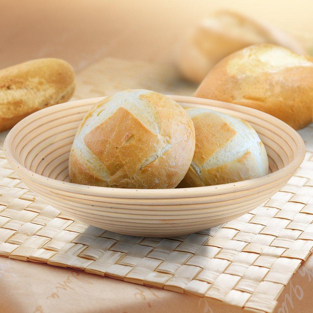 11.8 inch Banneton Proofing Basket Set, Haneye Brotform Bread Dough Proofing Rising Rattan Basket Sourdough Proofing Basket with Liner for Home Bakers