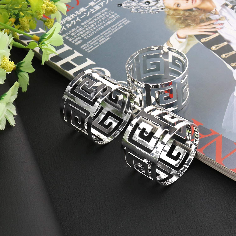 tavolo in metallo argento decorazione quotidiana per sala da pranzo Set di 12 anelli da tovagliolo