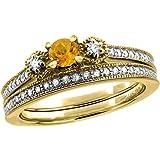 14K White/Yellow Gold Diamond Natural Citrine 2pc Engagement Ring Set Round 4 mm, sizes 5 - 10