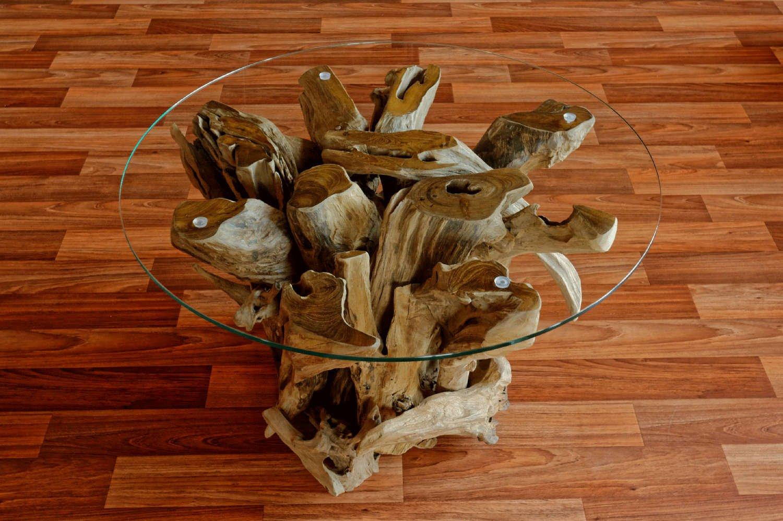 wurzelholz couchtisch beistelltisch ikal aus massivholz inklusive glasplatte 80 cm tisch in handarbeit altholz holz rustikal wurzelholz mbel in - Wohnzimmertisch Holz Wurzel