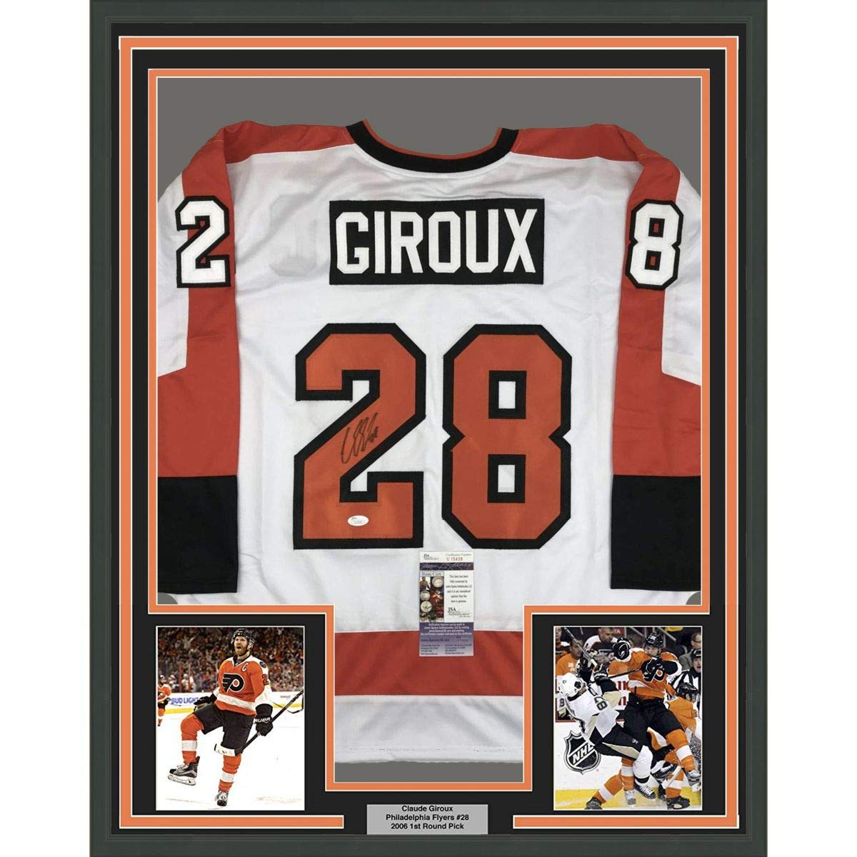 68889b815 Framed Autographed Signed Claude Giroux 33x42 Philadelphia White Hockey  Jersey JSA COA at Amazon s Sports Collectibles Store
