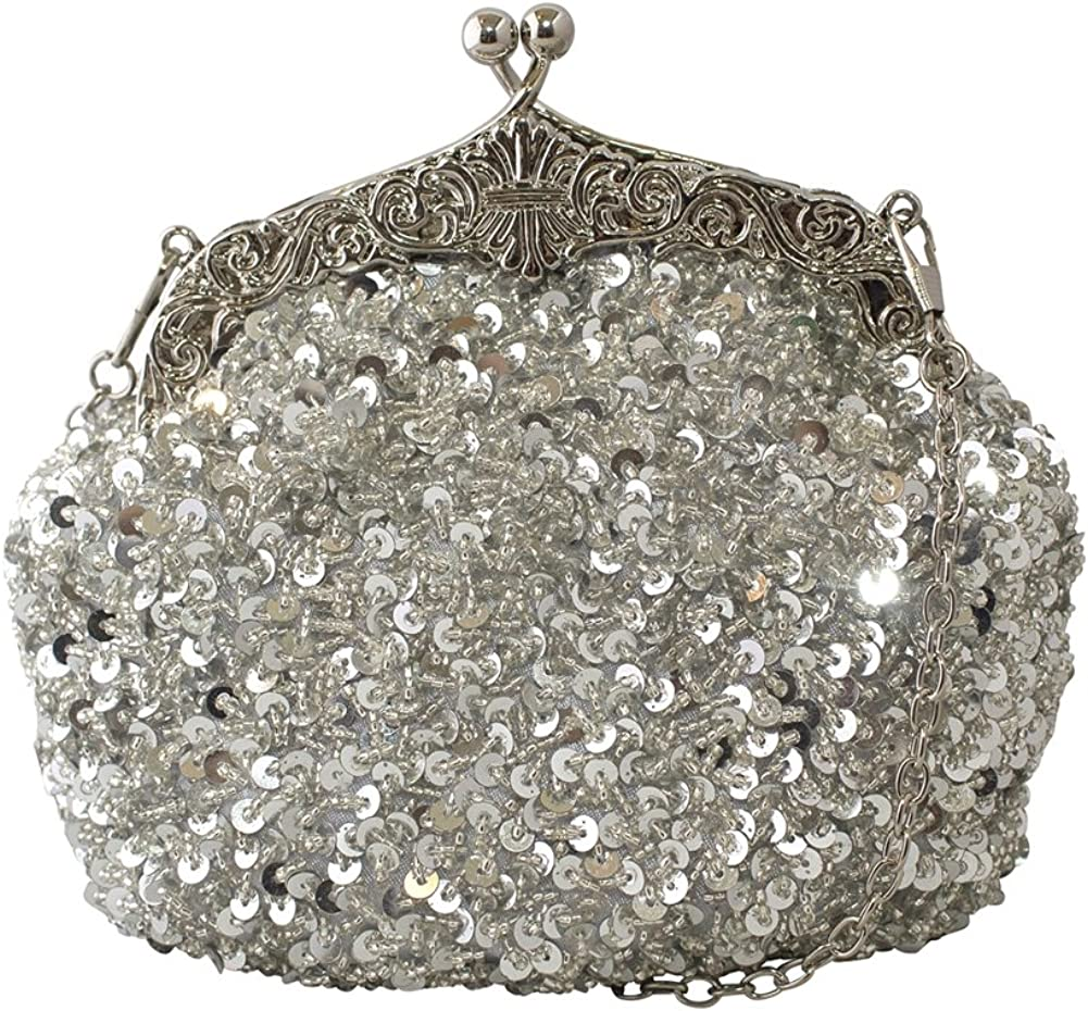 Chicastic Fully Sequined Mesh Beaded Antique Style Formal Cocktail Clutch - Silver