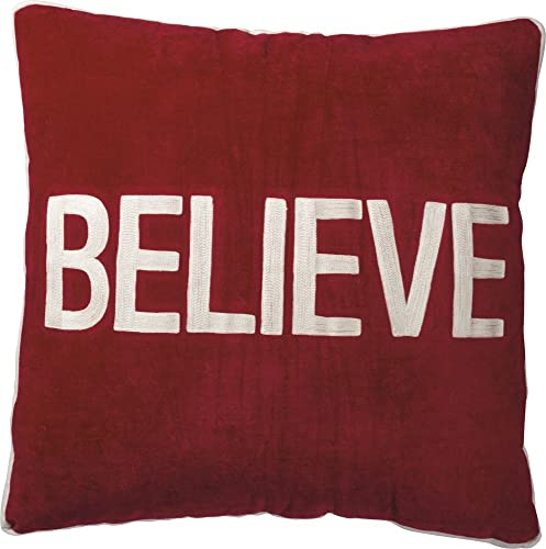 Primitives by Kathy Luxe Velvet Holiday-Inspired Throw Pillow, 25 x 25-Inches, Believe