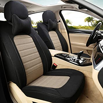 Amazon Com Autodecorun Custom Fit Seat Covers Front Rear Seats For Nissan Qashqai Accessories 2008 2018 Car Seat Cover Flax Cloth Seats Supports Styling 15pcs Set Black X Beige Automotive