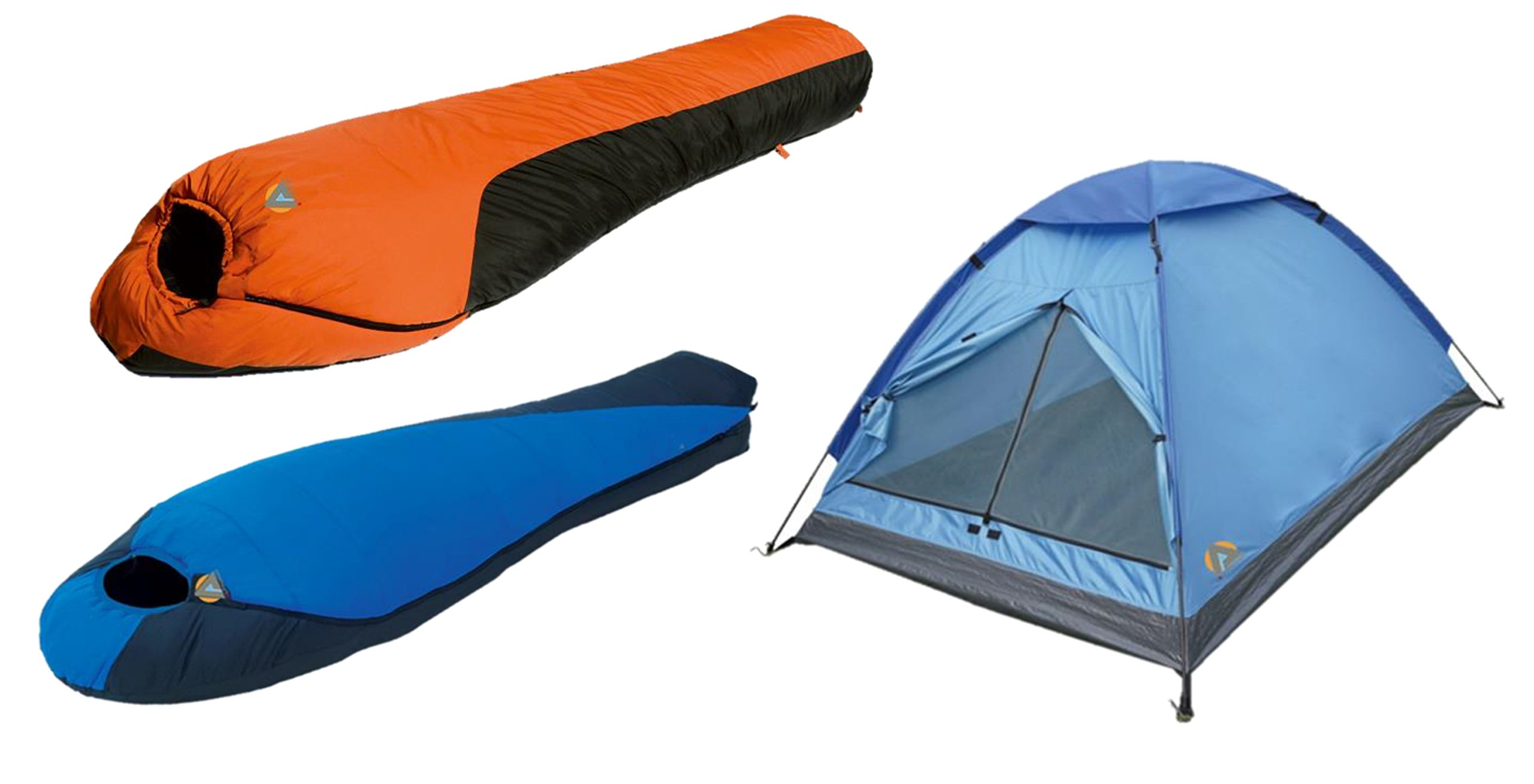 High Peak USA Alpinizmo Extreme Pak 0F & Mt. Rainier sleeping bags 3 men tent combo set, Blue/Orange, One Size by Alpinizmo