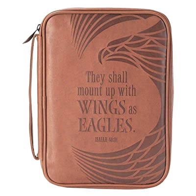 Eagle's Wings Isaiah 40:31 Brown X-Large Faux Leather Men's Bible Cover Case