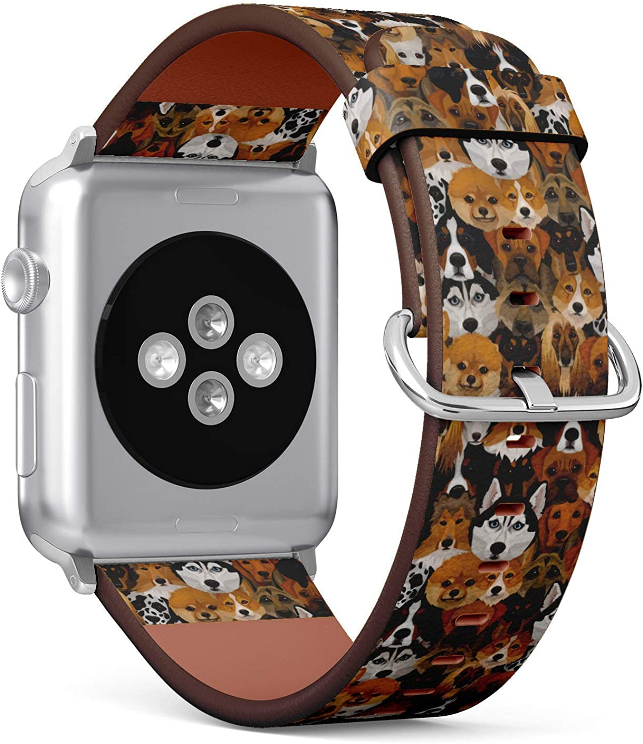(Dogs Different Breeds Pattern) Patterned Leather Wristband Strap Compatible with Apple Watch Series 4/3/2/1 gen,Replacement of iWatch 42mm / 44mm Bands
