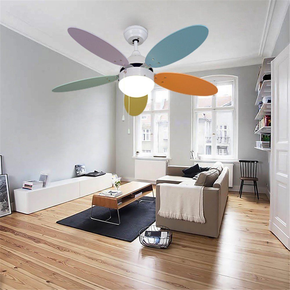 Ceiling Fans Modern Simple Macaron Ceiling Lamp With Fan Kids Room Bedroom Living Room Wood Fan Leaf Colorful Lamp Deco Pendant Lamp Ceiling Lights & Fans