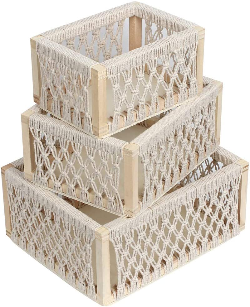 Decorative Storage Baskets for Shelves and Closet, Organizing Bins and Boxes for Toilet Paper at Bathroom and Kitchen, Macrame Boho Container for Books Toys at Living Room(White, Set of 3)