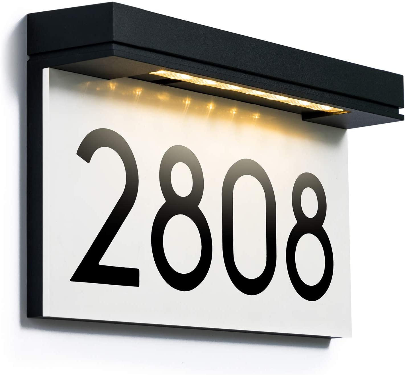 Address Plaques for House Solar Powered, House Number for Outside, LED Address Sign Outdoor Waterproof 3000K Warm White