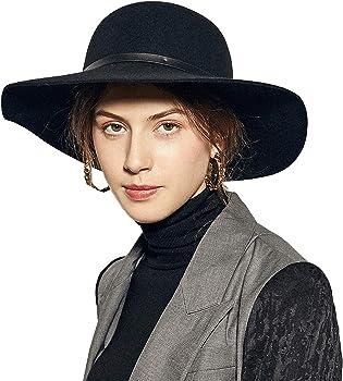 807112b7cf3430 Sedancasesa Wide Brimmed 100% Wool Felt Floppy Hat Vintage Women Warm Triby  Hats (Black. Back. Double-tap to zoom