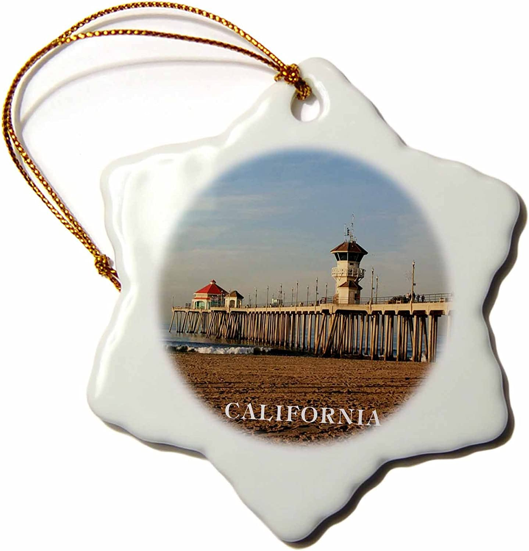 3dRose LLC ORN_80862_1 Porcelain Snowflake Ornament, 3-Inch, Pier at Huntington Beach California