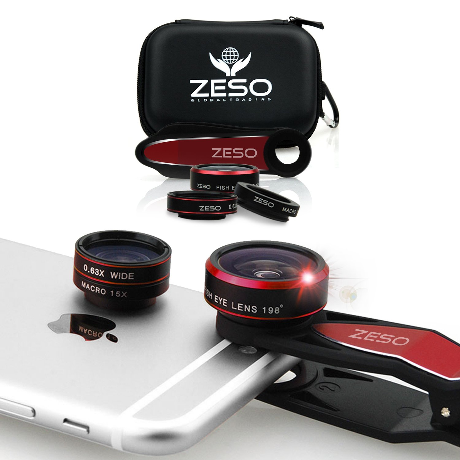 iPhone Lens 3 In 1 Kit by Zeso | Professional Fisheye, Macro & Wide Angle Lenses | For iPhone, Samsung Galaxy, Android, iPads, Tablets | Universal Phone Clip & Hard Storage Case | 4 Colors Camera Lens by Zeso lens
